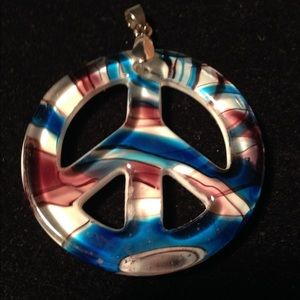 Vintage Art Glass Peace Sign